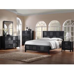 Montserrat Black Wood 5-Piece Modern Bedroom Set