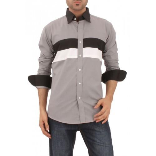 Light Grey Mixed Cotton Formal Shirt With Black Contrast Front Pannels