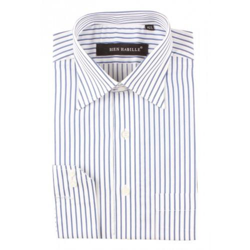 Blue White Mixed Cotton Striped Formal Shirt