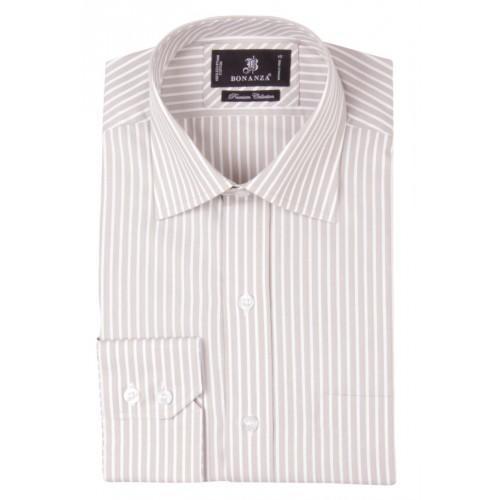 Beige White Cotton Striped Formal Shirt