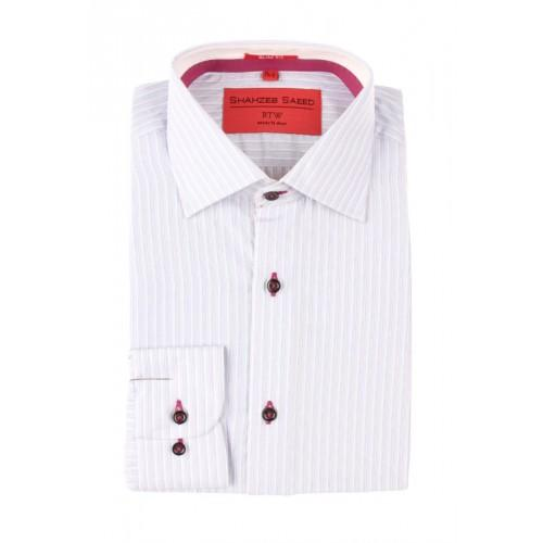 Purple Blue Mixed Cotton Pin Striped Shirt With Red And White Contrast