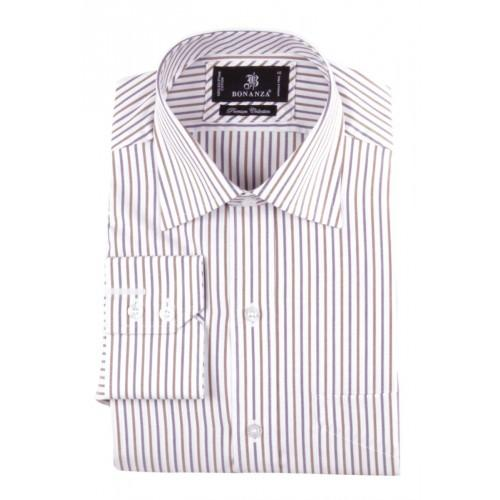 Brown White Cotton Striped Formal Shirt