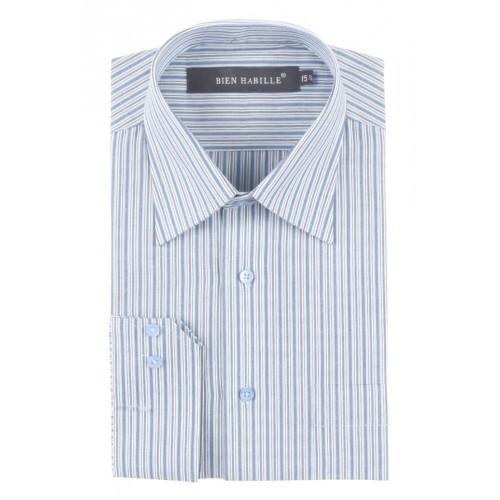 Dark Blue White Mixed Cotton Striped Formal Shirt