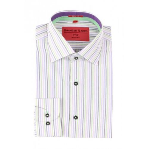 White Purple Mixed Cotton Striped Formal Shirt With Purple And Green Contrast