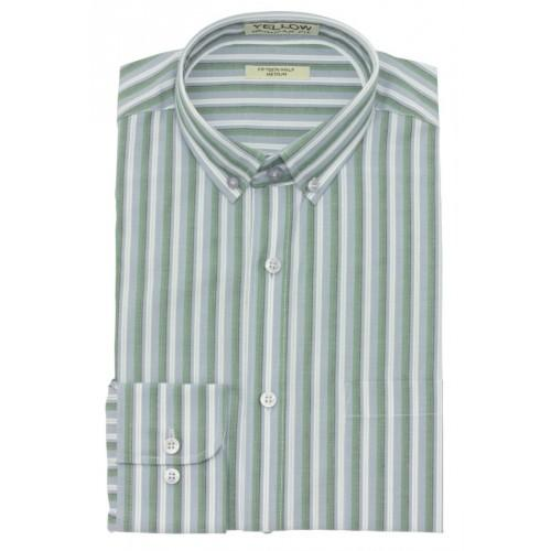 Green White Cotton Striped Formal Shirt