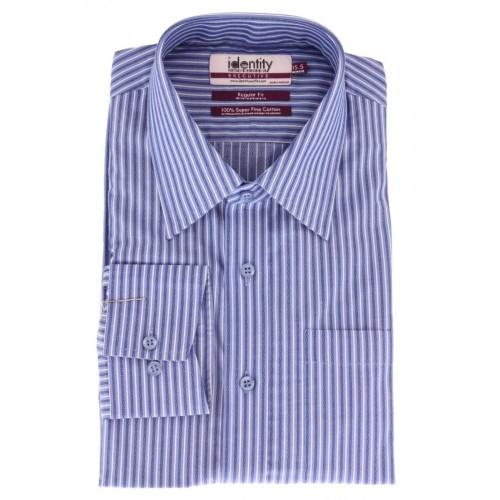 Royal Blue Cotton Formal Shirt With White Lining