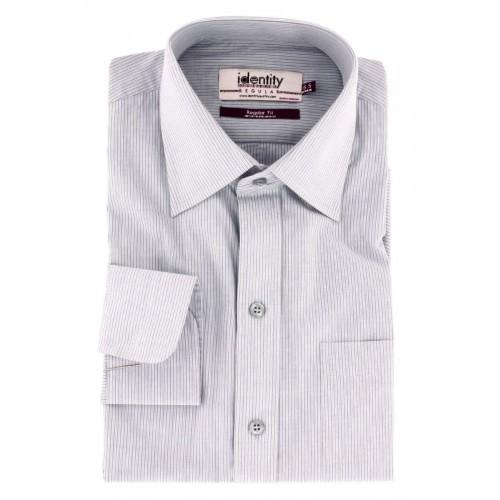 Grey Cotton Formal Shirt With White Lining