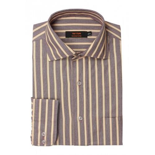 Peach Purple Mixed Cotton Striped Formal Shirt