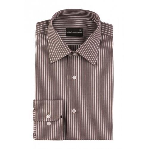 Dark Grey White Striped Formal Shirt