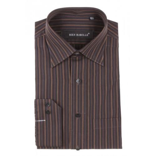 Black Rust Cotton Striped Formal Shirt