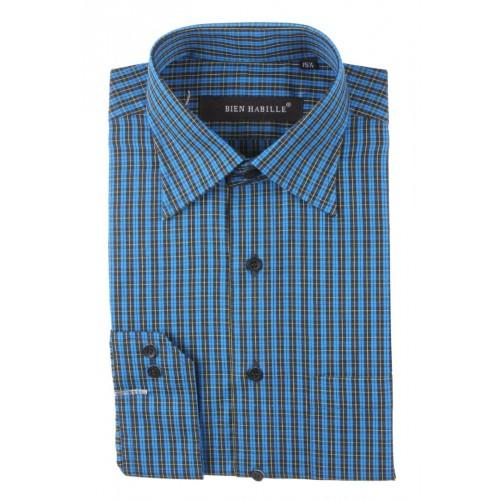 Blue Black Mixed Cotton Striped Formal Shirt