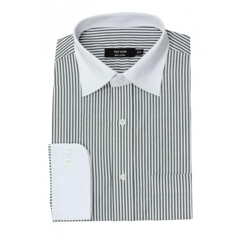 White Black Cotton Striped Formal Shirt With White Collar