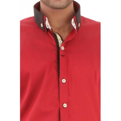 Red Mixed Cotton Formal Shirt With Double Collar With Contarst Pannels